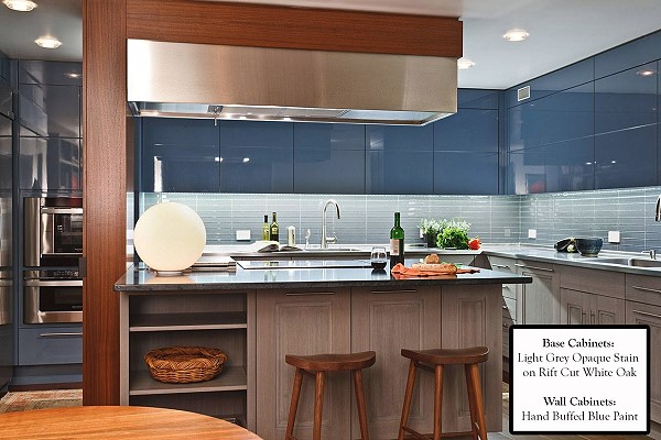 Hand-buffed, blue paint, designed with rift-cut white oak and light grey opaque stain