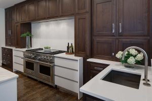 Flush Inset Natural Walnut Wall Cabinets